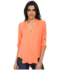 Brigitte Bailey Channing V Neck Blouse Pop Coral Women's Blouse Orange
