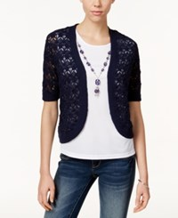Alfred Dunner Layered Look Necklace Top Navy