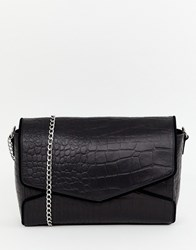 Urbancode Leather Bag In Mock Croc With Chunky Chain Strap Black