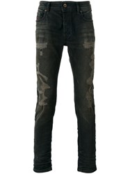 Diesel Distressed Slim Fit Jeans Grey