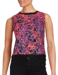 T Tahari Sleeveless Lace Top Multi