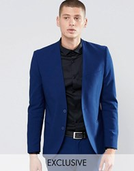 Only And Sons Skinny Lapelless Blazer With Stretch Blue