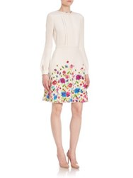 Oscar De La Renta Long Sleeve Floral Print Silk Dress White Multi