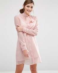 Fashion Union Shirt Dress With Sheer Layer And Bow Collar Nude Pink