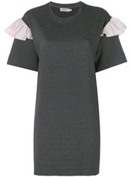 Anna K Frill Sleeve T Shirt Dress Women Cotton Polyester Spandex Elastane Microfibre M Grey