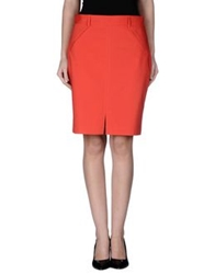 List Knee Length Skirts Red