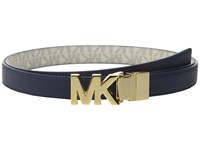 Michael Michael Kors 20Mm Reversible Saffiano To Logo Pvc On Mk Buckle Belt Navy White Women's Belts Blue