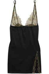Coco De Mer Danae Silk Blend Satin And Embroidered Tulle Chemise Black