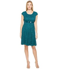Christin Michaels Collins Paneled Fit And Flare Emerald Women's Dress Green