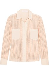 See By Chloe Stretch Crepe Trimmed Guipure Lace Shirt Pink