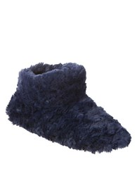 Isotoner Regina Slip On Slipper Boots Navy Blue