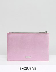 Skinnydip Exclusive Zip Top Pouch Bag In Metallic Pink Pink
