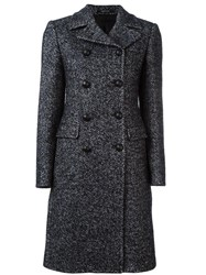 Tagliatore Herringbone Double Breasted Coat Black