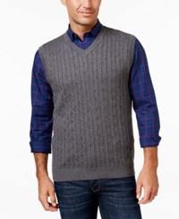 Club Room Men's Big And Tall Cable Knit Sweater Vest Charcoal Heather