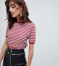 Boohoo Stripe T Shirt With Contrast Collar Red
