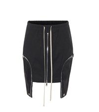 Rick Owens Asymmetric Stretch Cotton Miniskirt Black
