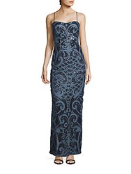 Adrianna Papell Fitted Sleeveless Lace Gown Blue