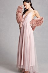 Forever 21 Caged Tulle Maxi Dress Mauve