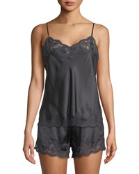 Vivis Kisha Lace Trim Cami Pajama Set Dark Gray