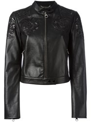 Versace Baroque Embroidered Cropped Jacket Black