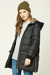 Forever 21 Longline Hooded Puffer Jacket Black