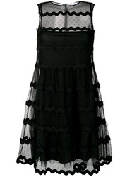 Red Valentino Tulle Tiered Mini Dress Black