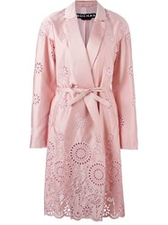 Rochas Perforated Belted Coat Pink And Purple