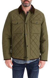 J.Crew Sussex Quilted Jacket With Corduroy Collar Frosty Olive