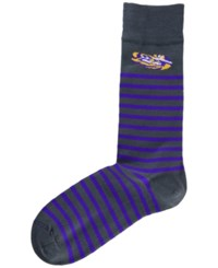 For Bare Feet Lsu Tigers Thin Stripes Socks Charcoal Purple