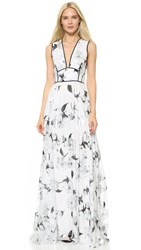 Lela Rose V Neck Gown Silver