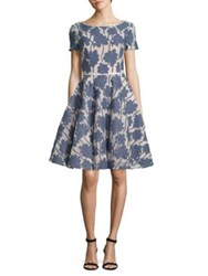 Nue By Shani Fit And Flare Floral Dress Blue White