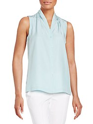 Lafayette 148 New York Gia Sleeveless Silk Blouse Blyss Blue
