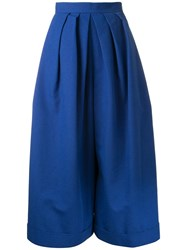 Delpozo Pleated Wide Legged Cropped Trousers Blue
