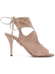 Aquazzura 'Sexy Thing' Sandals Women Leather Suede 36.5 Nude Neutrals