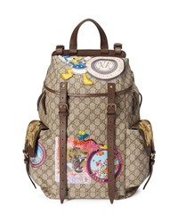 Gucci Soft Gg Supreme Backpack With Patches Beige