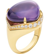 Bulgari Mediterranean Eden Sassi 18Ct Yellow Gold Diamond And Amethyst Ring