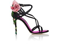 Dolce And Gabbana Women's Keira Satin Sandals Black Pink Green Black Pink Green