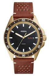 Fossil Men's Sport 54 Leather Strap Watch 44Mm Brown Gold