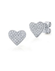 Crislu Platinum Over Sterling Silver And Cubic Zirconia Heart Earrings