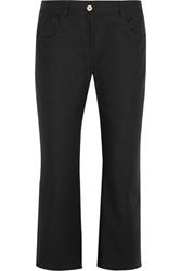 Kenzo Cropped Stretch Cotton Flared Pants Black