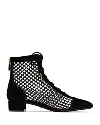 Christian Dior Naughtily D Suede And Mesh Ankle Bootie Black