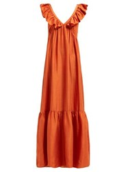Masscob Acacia Ruffled Silk Dress Orange