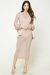 Forever 21 Sheer Mock Neck Bodycon Dress Blush