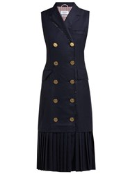 Thom Browne Anchor Button Double Breasted Wool Dress Navy Multi