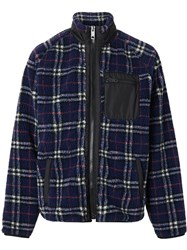 Burberry Vintage Check Faux Shearling Jacket Blue