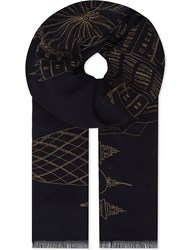 Janavi London Cashmere And Wool Blend Scarf Navy