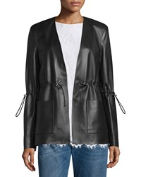 Christopher Kane Drawstring Waist Leather Blazer Black Women's