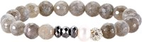 Devoted Faceted Bead Bracelet Grey
