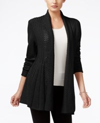 Ny Collection Ribbed Open Front Cardigan Black