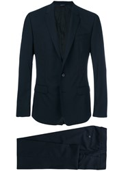 Dolce And Gabbana Formal Two Piece Suit Men Spandex Elastane Cupro Viscose Virgin Wool 54 Blue